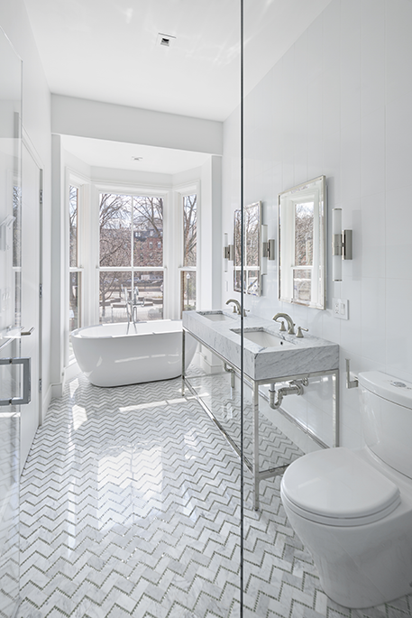 Give Your Bathroom Timeless Appeal With An All White Colour Scheme Also How Smart Is That Floor Modern White Bathroom Bathroom Design Small Bathroom Makeover