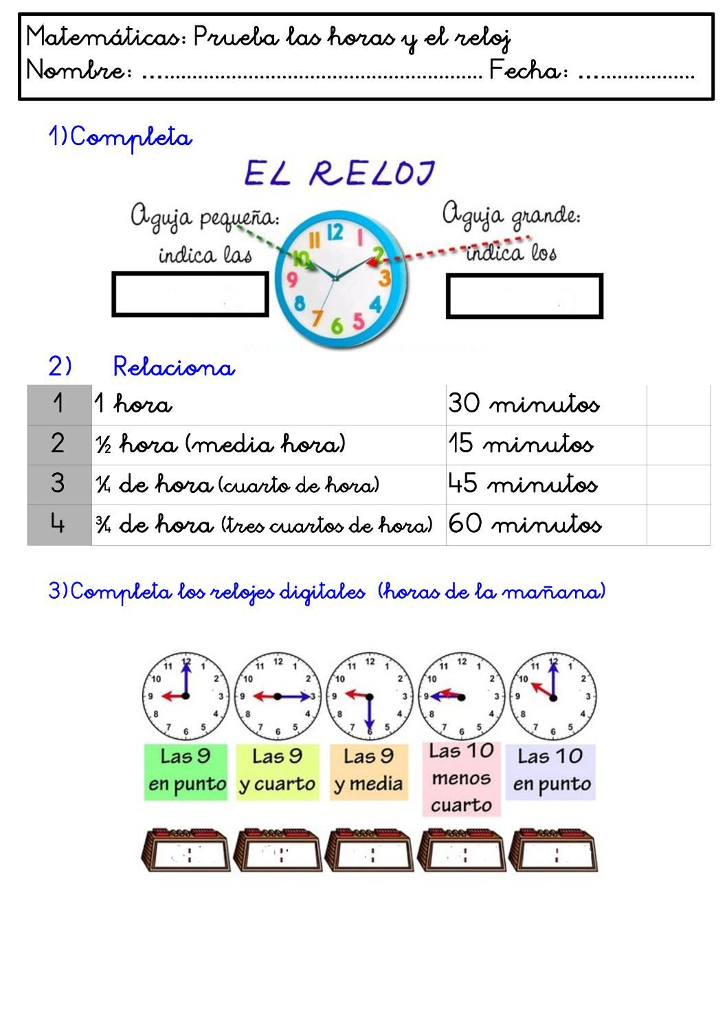 Prueba Las Horas Y El Reloj