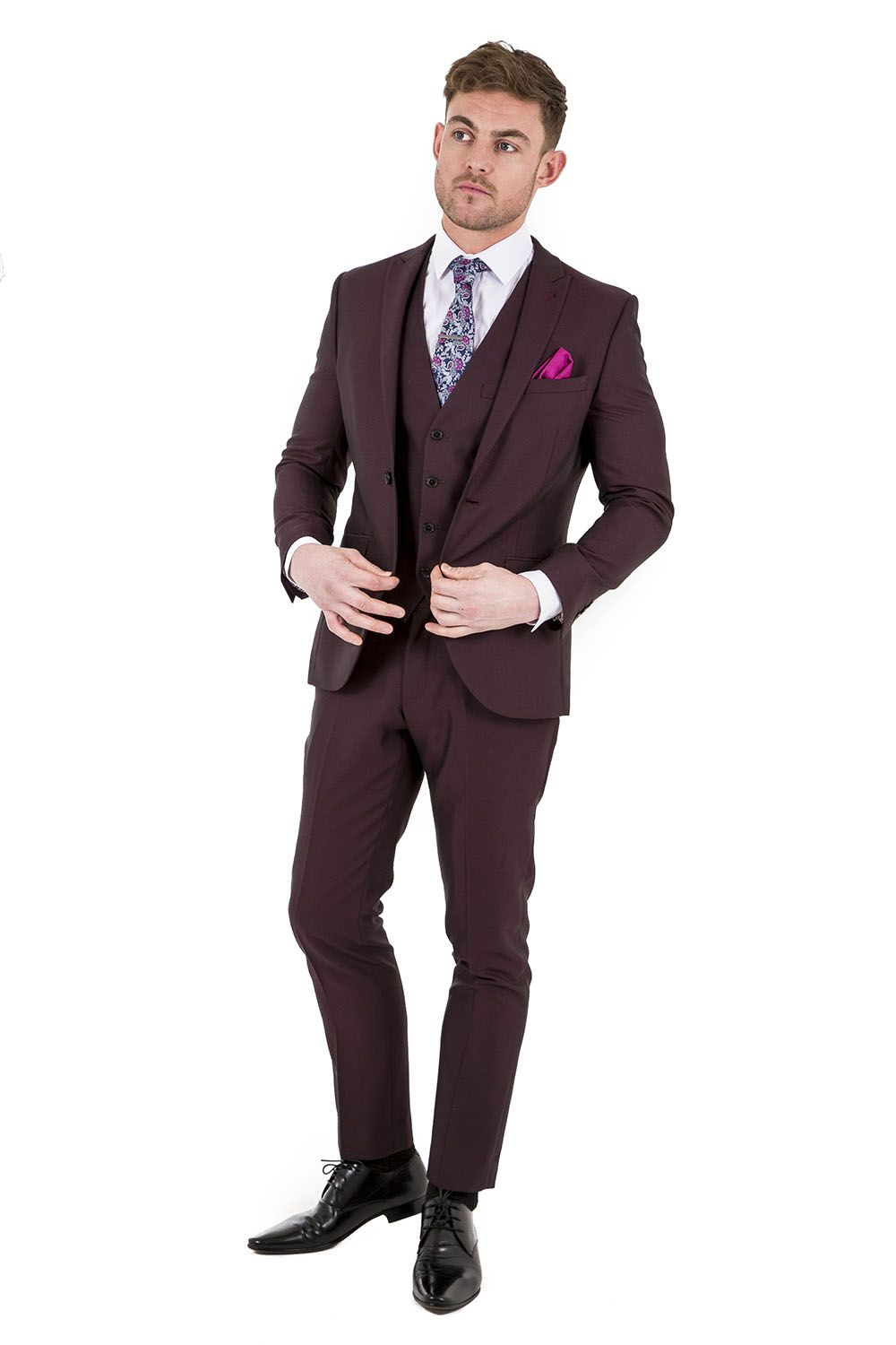 VENTURA Burgundy Three Piece Slim Fit Suit. Exclusive to Slaters ...
