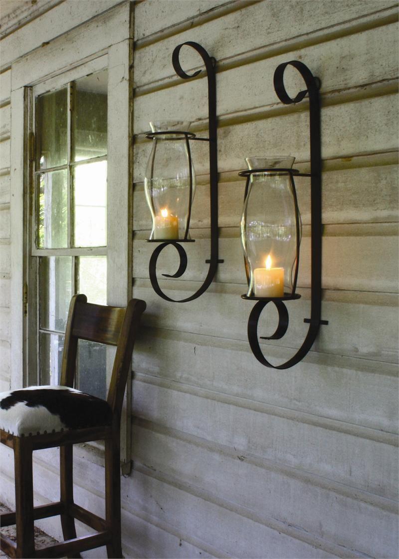Flat Iron Wall Sconce Lantern With Glass Hurricane Iron Wall