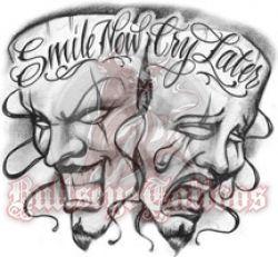 Smile Now Cry Later Jester Masks At Bullseyetattooscom Art Work