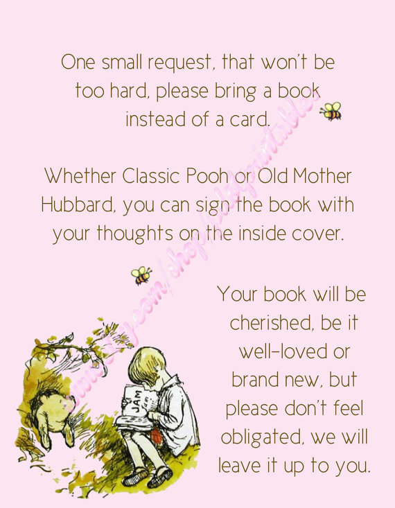 Classic Winnie The Pooh Baby Shower Envelope Insert Bring A Book