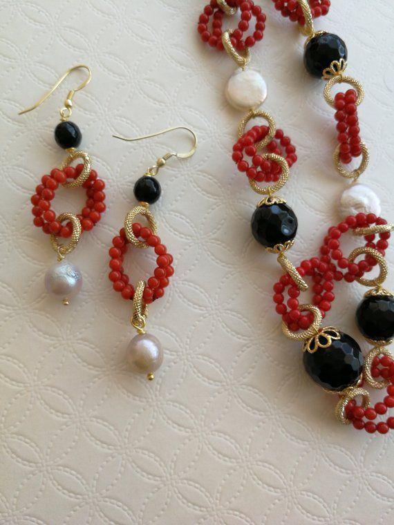 Collana e orecchini pietre dure onice perle bianche e for Orecchini con pietre dure fai da te
