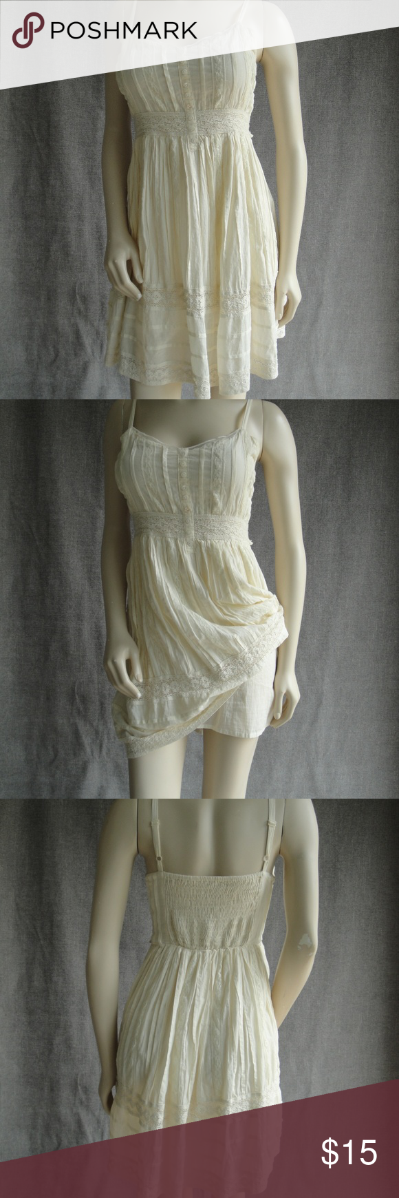 Ladies romantic cream short sundress Small Delia's size small. Adjustable straps, fully lined, 100% cotton. Measures from top middle of bodice to hem 27. dELiA*s Dresses #shortsundress