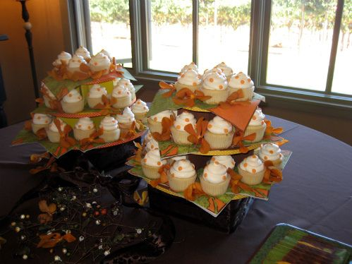 Cupcakes for a fall bridal shower. Add gold and maroon leaves.