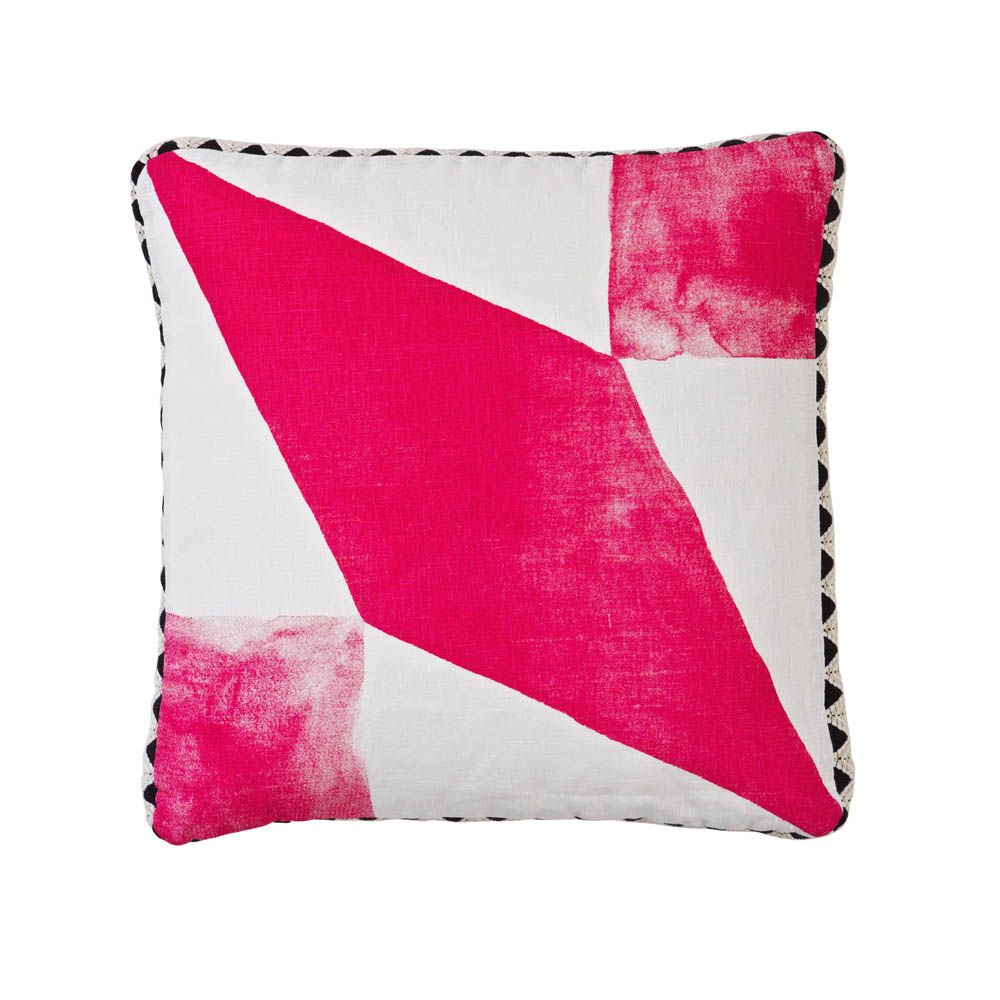 100% linen cushion hand screen printed with diamond tile in pink finished with black and white zig zag trim (C615).  Dimensions: 40cm x 40cm (feather insert included)  Care Instructions: Remove insert and hand wash or gentle machine wash separately with gentle laundry liquid, line dry and iron on reverse whilst slightly damp. Please do not bleach, tumble dry or dry clean.  To purchase cushion without its feather insert please apply the coupon code NOFILL at checkout.