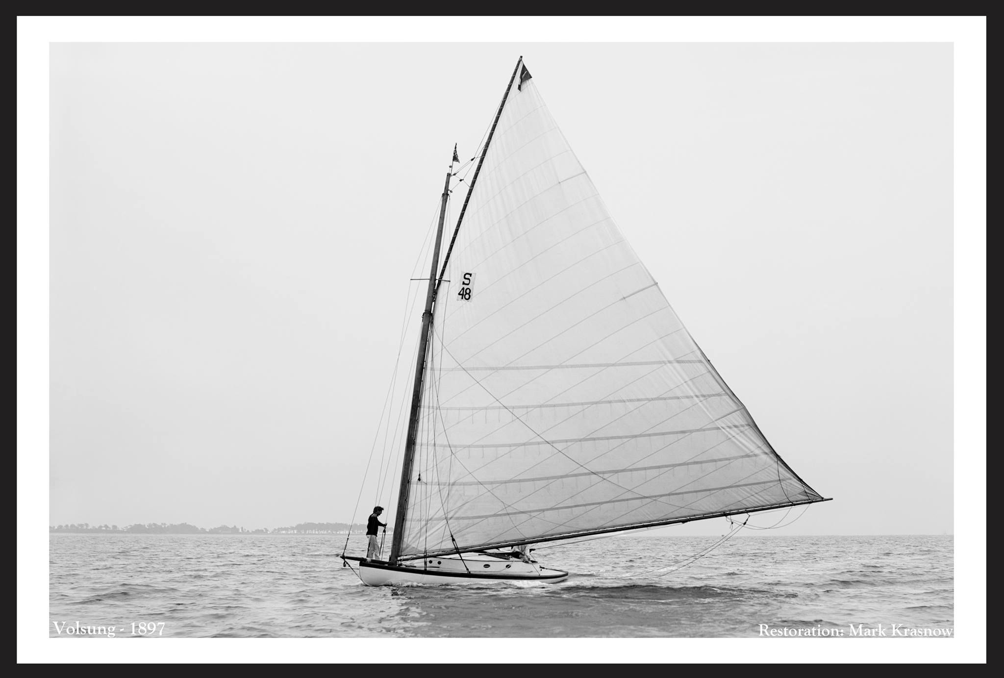 Vintage Sailing...Volsung - 1897 Cat - Length: 32 Beam: 13 Draft: 1 Designed by CC Hanley Built in Quincy, MA - 1896 Owned by J & HL DeForest Port of NY. Restration by Mark Krasnow