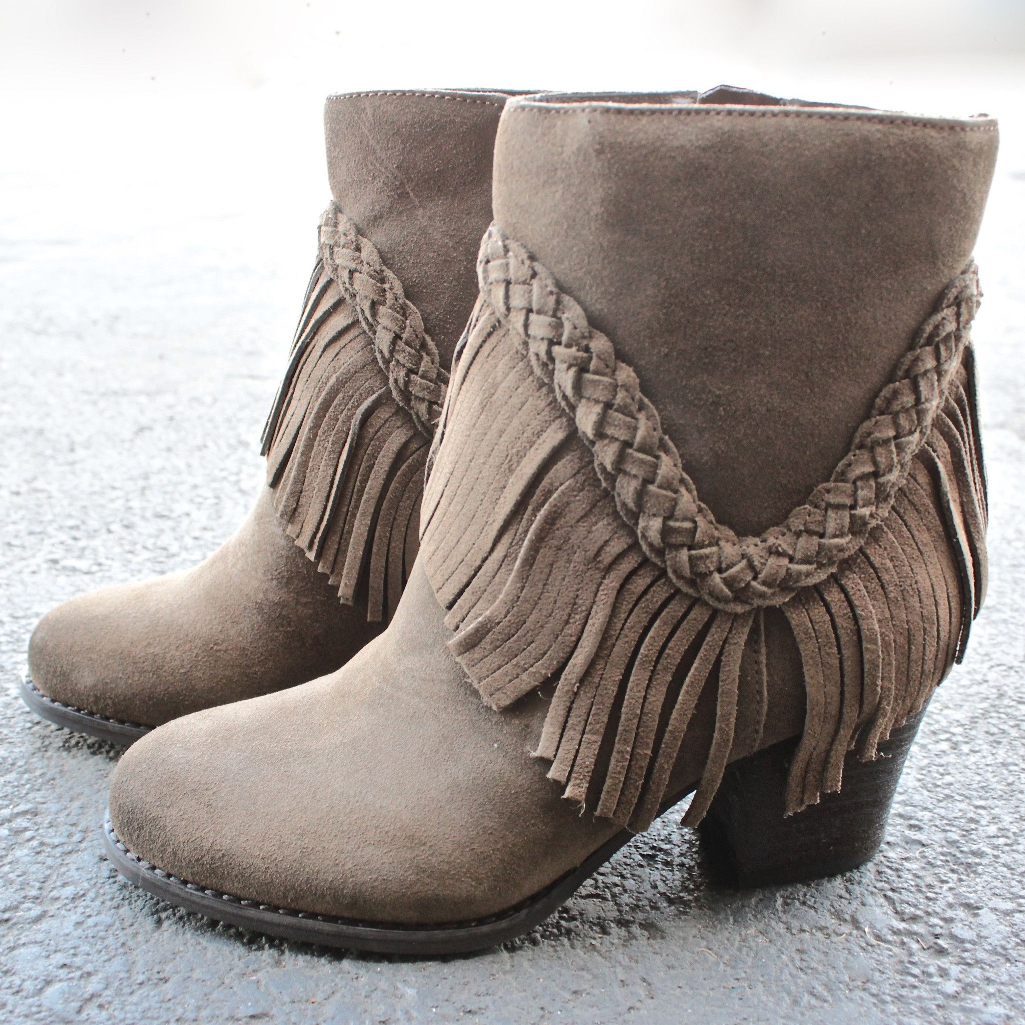 be288769c sbicca vintage collection suede patience fringe booties | Clothing ...