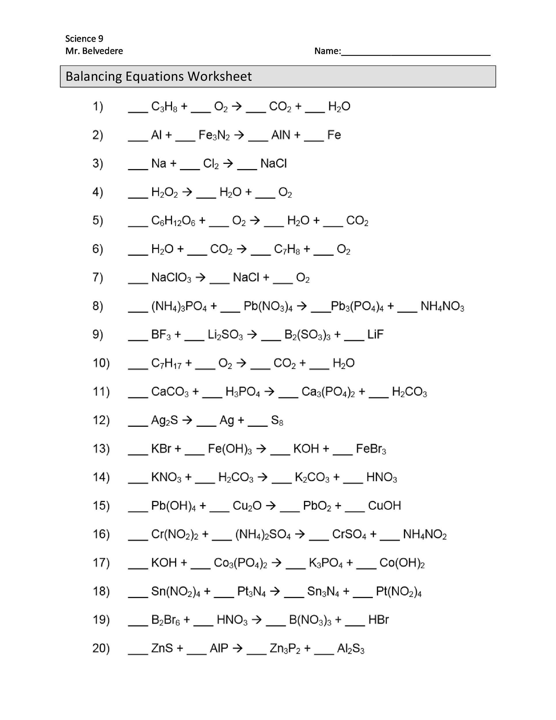 Balancing Equation Worksheet With Answers 49 Balancing