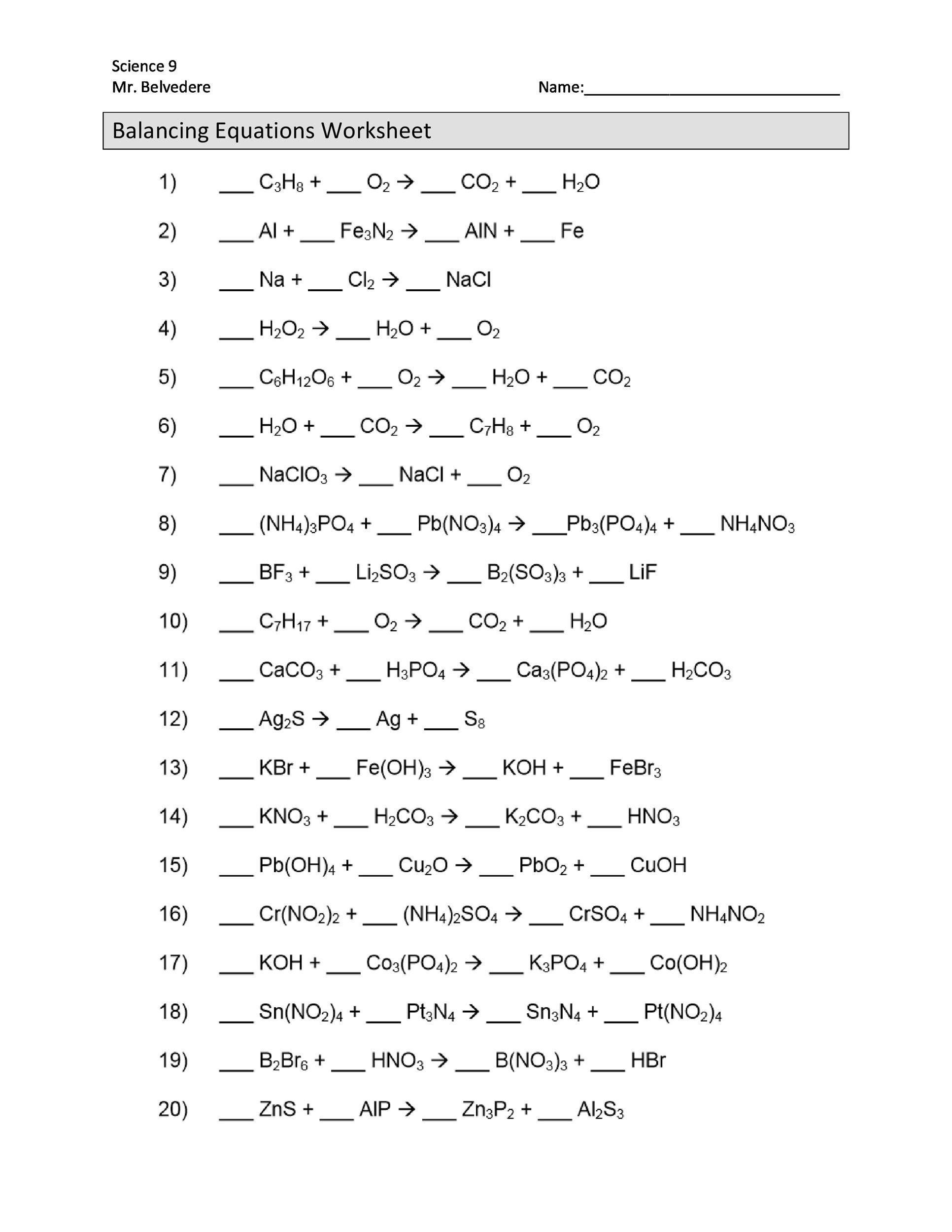 Writing Chemical Equations Worksheet 49 Balancing Chemical