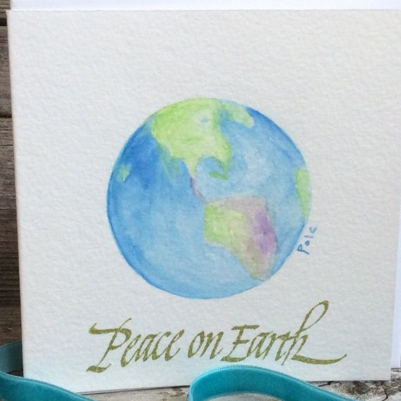 Holly garland christmas garland holiday garland christmas paper items similar to holiday greeting card original watercolor christmas card peace on earth hand painted world globe handmade world peace m4hsunfo Images