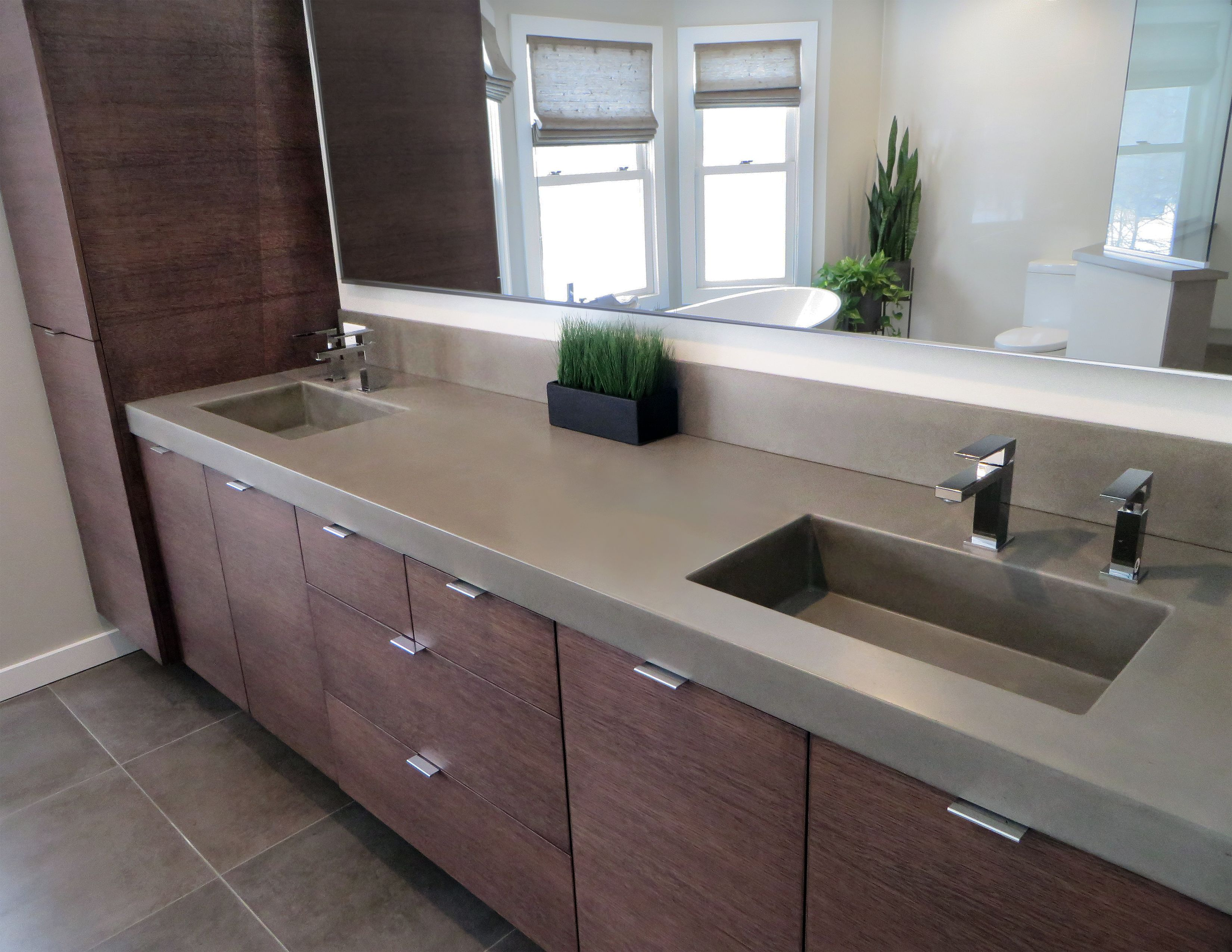 This Is A Contemporary Concrete Bathroom Sink By Trueform Concrete 3 Thick Edge With Double Rectangle Co Blue Bathroom Decor Concrete Bathroom Concrete Sink