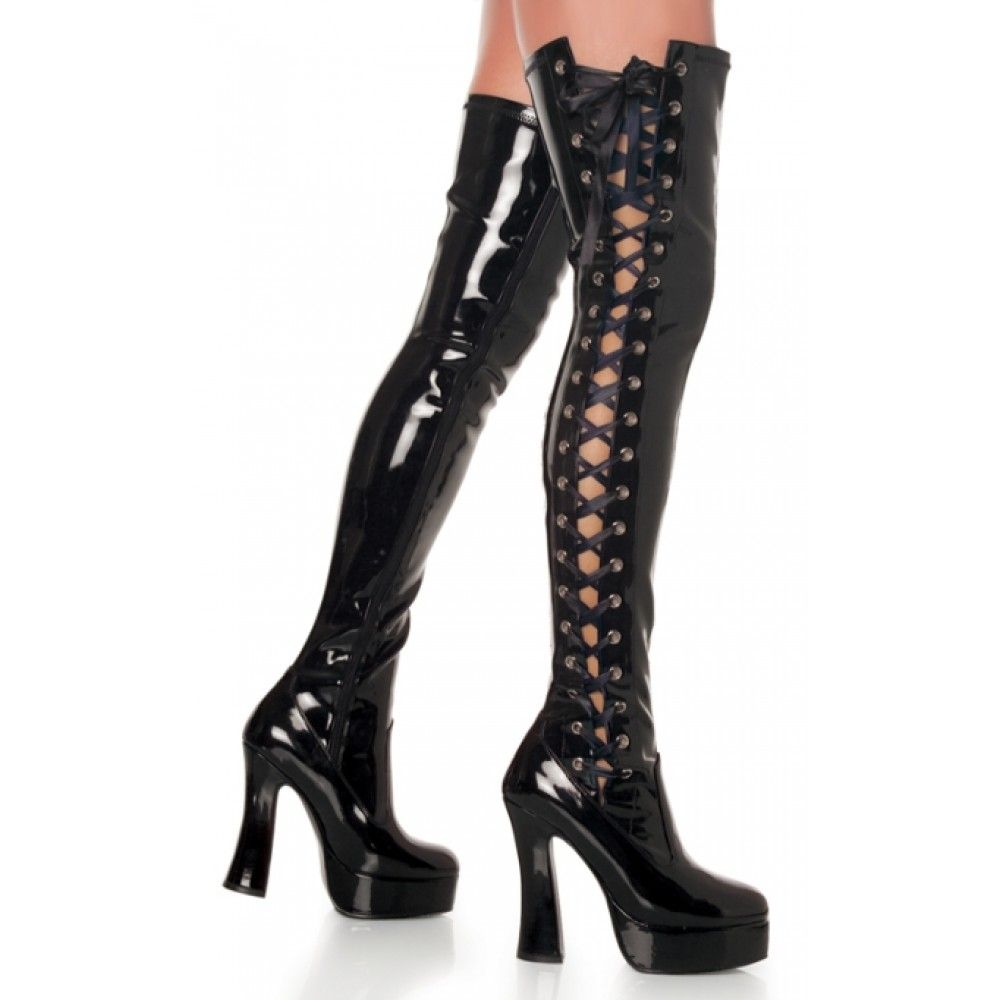 Pleaser Shoes Electra-3050 Black Patent Thigh High Boots - Size 7 ...