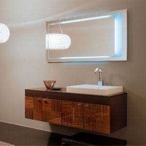 Photo Of This beautiful floating vanity from Iotti has plenty of storage and an offset sink to increase