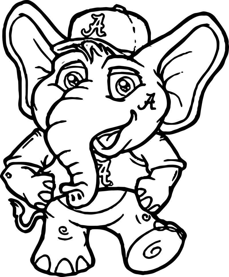 very cute perfect alabama crimson tide elephant coloring