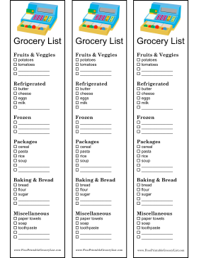 this three column grocery shopping list decorated with a colorful