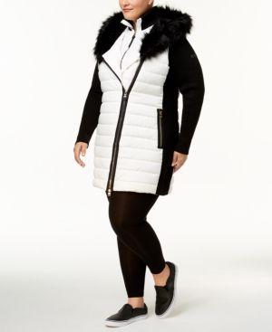 9f0f17c41d Calvin Klein Performance Plus Size Faux-Fur Trimmed Coat - White 2X ...