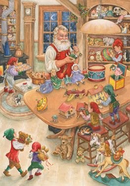 Santa's Toy Shop Advent Calendar | Features Glitter on the Front, Fun Pictures and Twas the Night Before Christmas Poem  | Vermont Christmas Co. VT Holiday Gift Shop