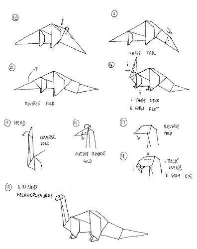 dinosaur origami origami by li yin pinterest origami rh pinterest ca Origami Dragon Diagram origami dinosaur skeleton diagrams
