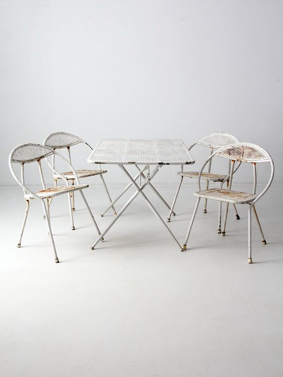 mid-century patio set, white Salterini style metal table and chairs ...