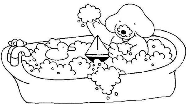 Bath Morning Bath With Sailship And Rubber Duck Coloring Pages
