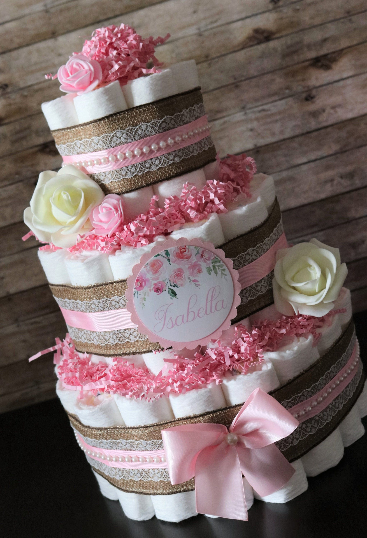 On Sale Baby Girl Girl Diaper Cake It S A Girlgifts Etsy Girl Diaper Cake Baby Girl Gifts Diaper Cakes Girl