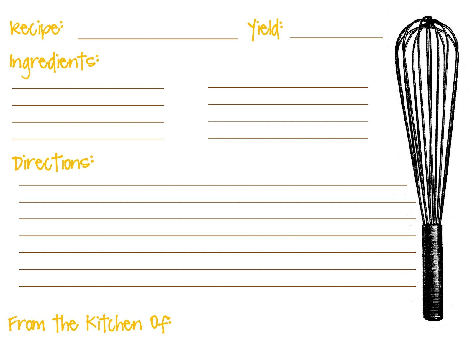 FreePrintableFullPageRecipeCardTemplate  Kitchen