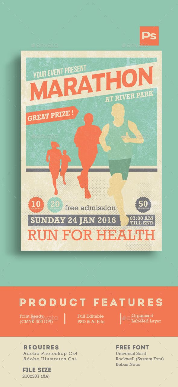 Marathon Event Flyer Template | Flyer Template, Flyers And Marathons