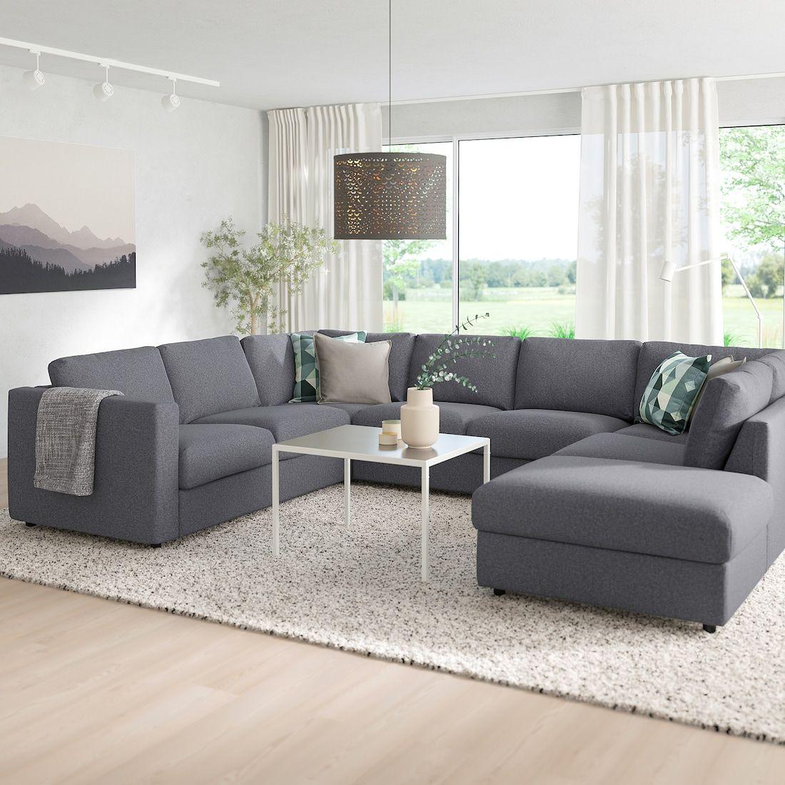 Vimle Sectional 6 Seat With Open End Gunnared Medium Gray Ikea U Shaped Sofa Ikea Sectional Sofa Corner Sofa