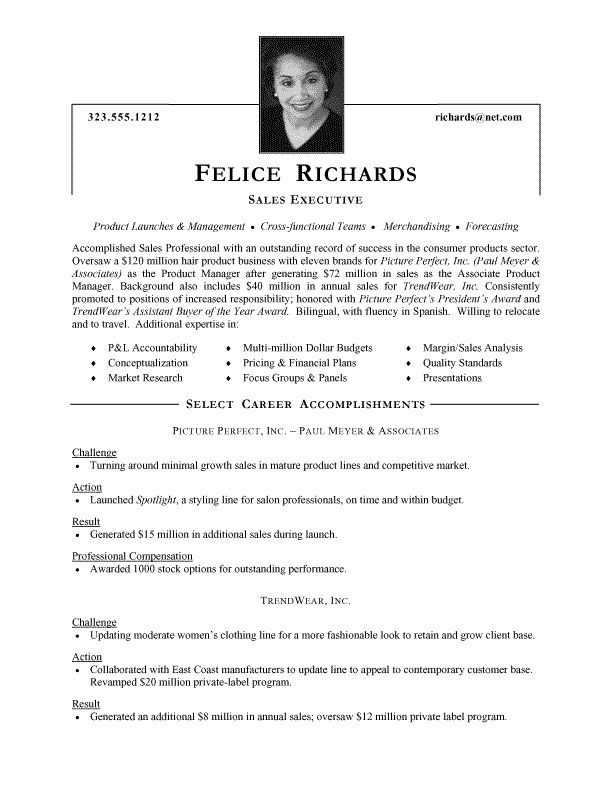 Executive Format Resume Template Sample Resume For Sales Executive  Httpwwwresumecareer
