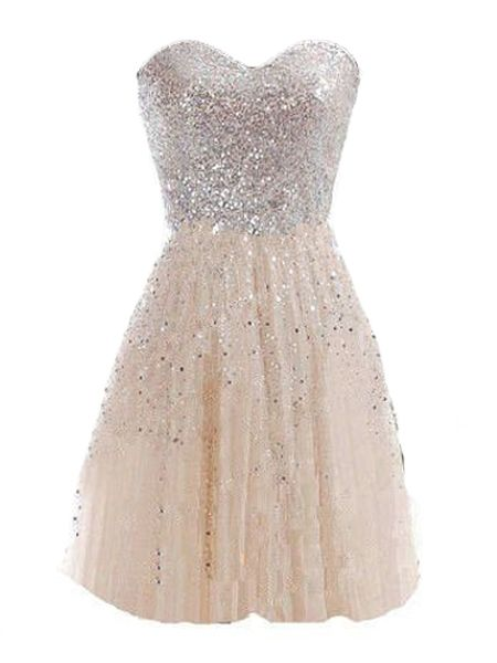 Sweetheart Paillette Patchwork Party-dress -Champagne