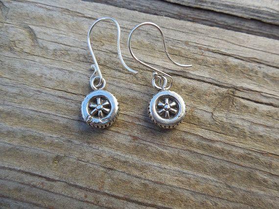 Motorcycle wheel earrings in sterling silver by Billyrebs on Etsy, $33.00