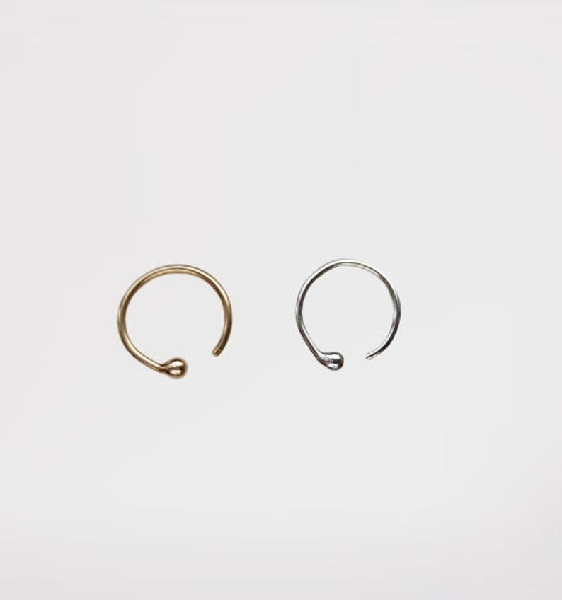 Fake Nose Piercing 14 K Gold Plated Over Sterling Silver Etsy In 2020 Nose Piercing Fake Nose Fake Piercing
