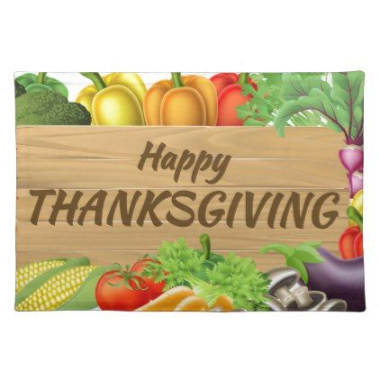 Thanksgiving Fruits and Vegetable Produce Sign Placemat