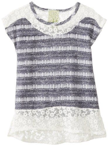 Kiddo Girls 7-16 Knit Top with Daisy Mesh Trim - Listing price: $40.00 Now: $21.87