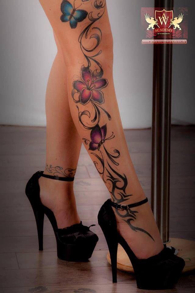 Bildergebnis Fur Blumenranke Bein Tattoo Blumen