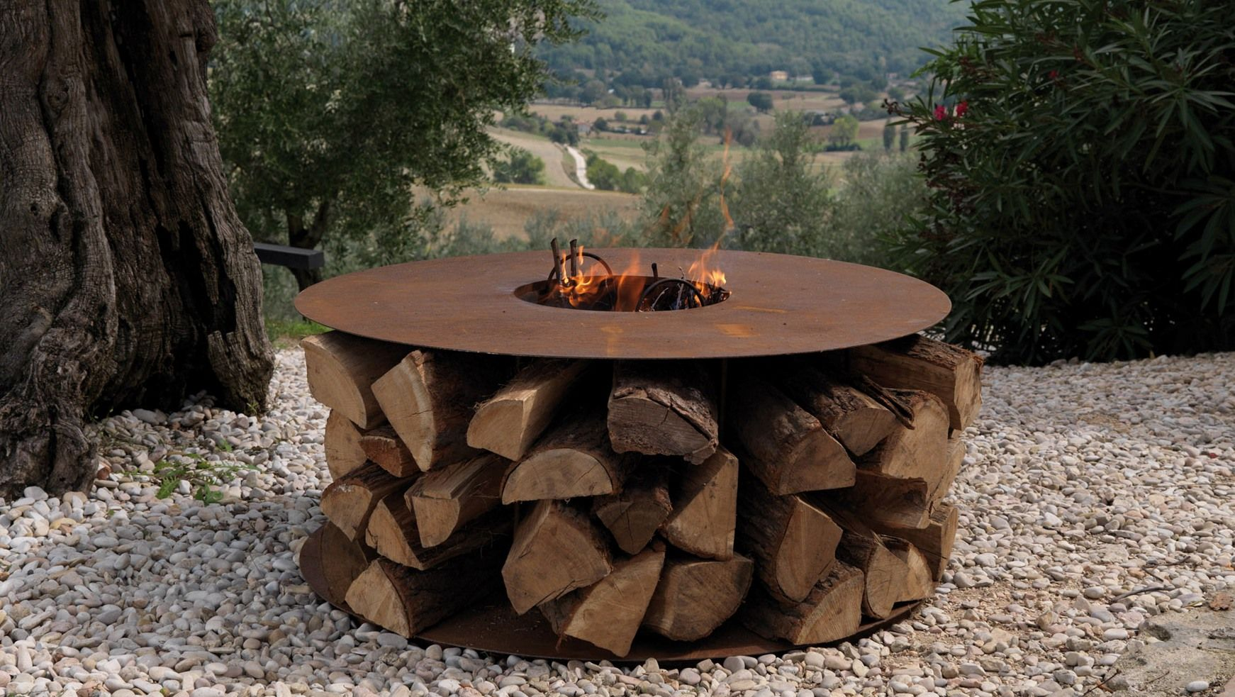 fire pit with cool wood storage Coffee table, Wood, Wood