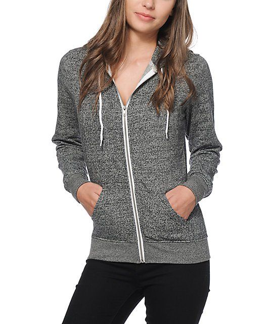 Zine Black Salt & Pepper Zip Up Hoodie | Heather grey, Wardrobes ...