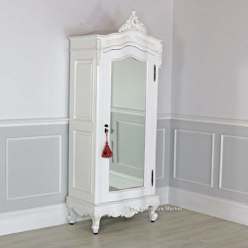 white armoire wardrobe bedroom furniture. White Painted Small 1 Door Mirrored Armoire Wardrobe Bedroom Furniture E