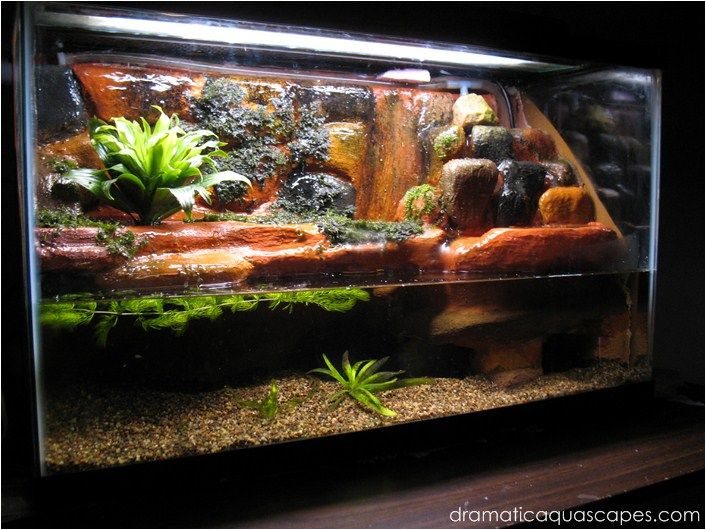 Diy rockwall plateau and waterfall turtle fish tanks for Waterfall fish tank