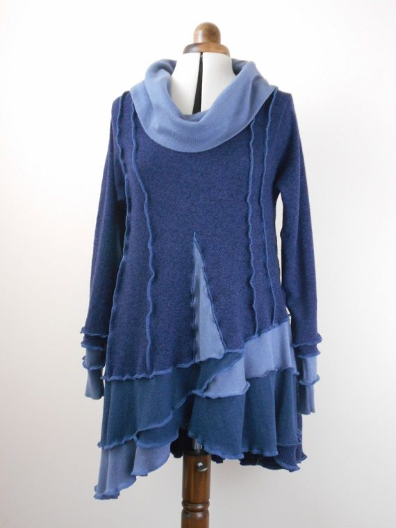 Wool, cotton & alpaca tunic with assymetric hem and cowl-neck, size 12-16.