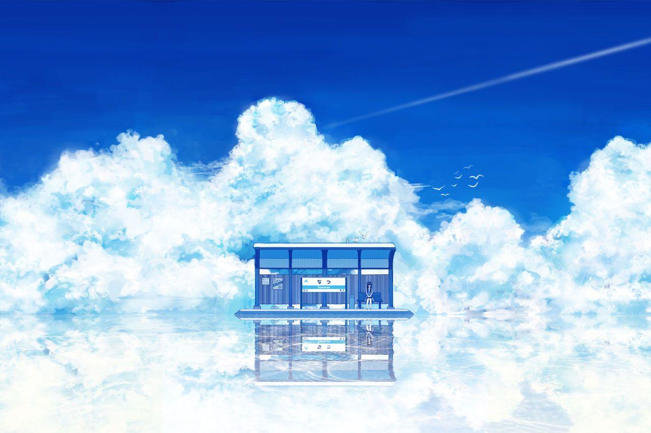 画像 透き通る青い空と海 夏のイラスト集めました 二次元 Naver まとめ 空イラスト 風景画 風景