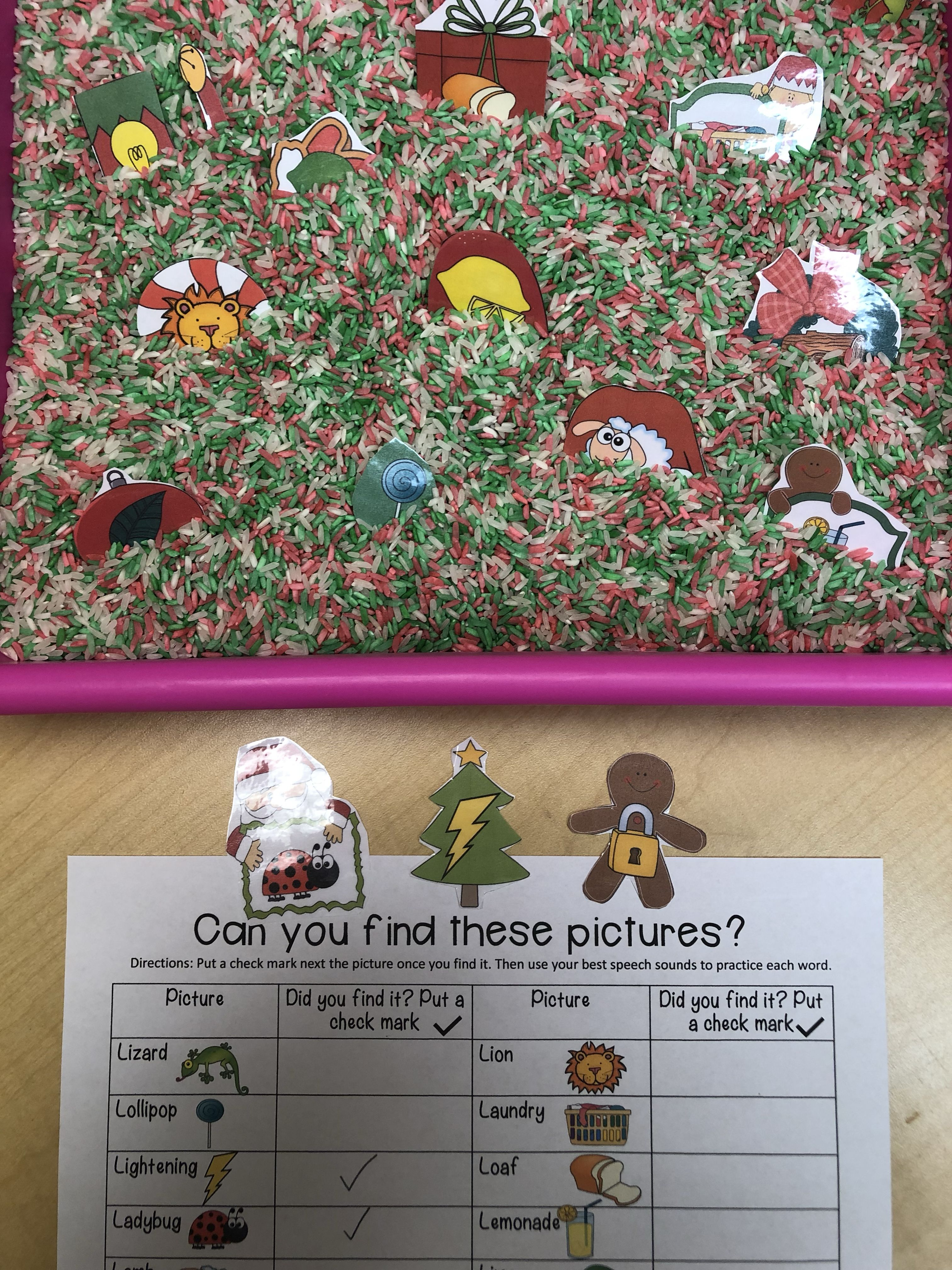 Christmas Sensory Bin Articulation Pictures And Worksheet