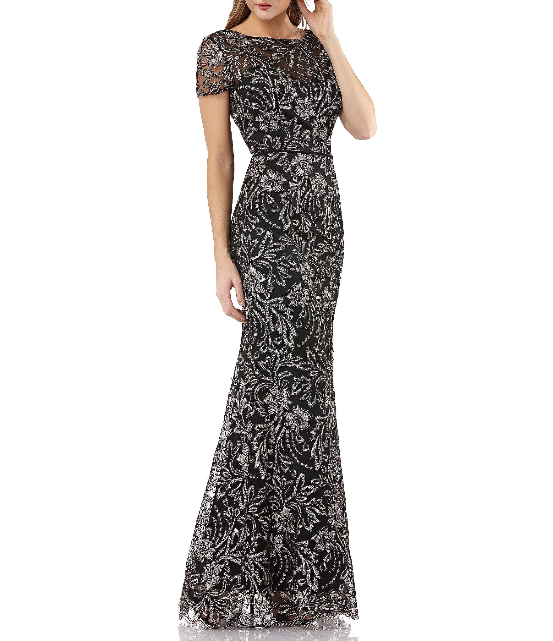 Js collections embroidery lace long dress in formal