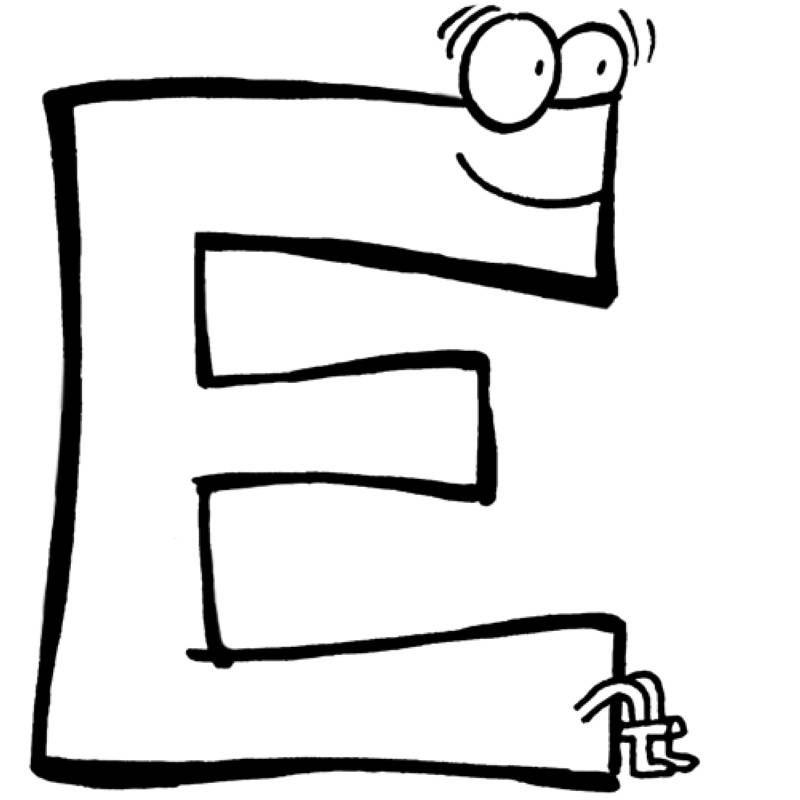 das alphabet beim ausmalen lernen der buchstabe e wartet