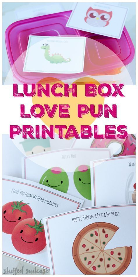 Printable Love Puns Lunch Box Notes for Kids Valentine's Day images