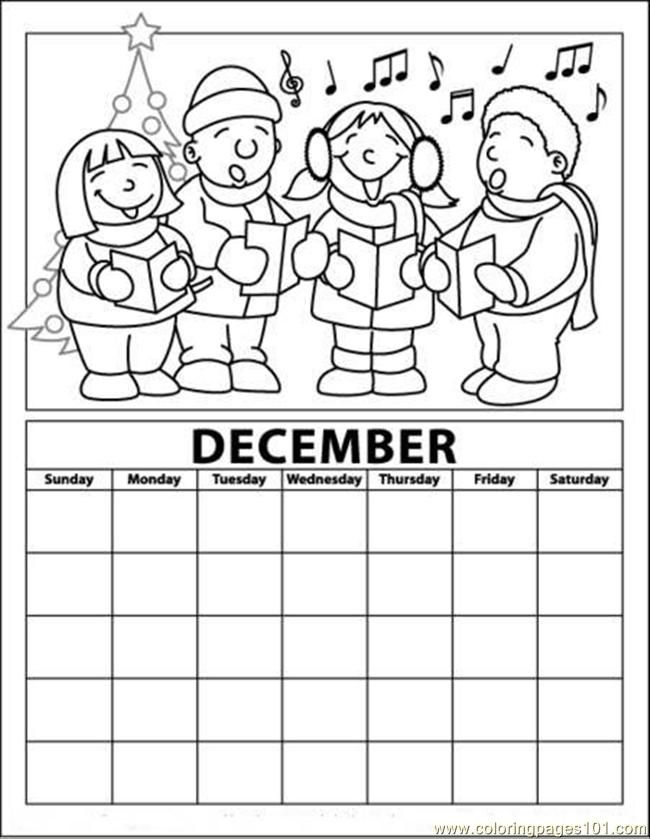 Christmas Caroling December Calender Page Color Sheet Coloring Calendar Kids Calendar Advent Coloring