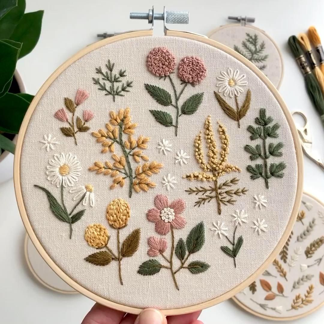Vintage wild flowers hand embroidery  – embroidery