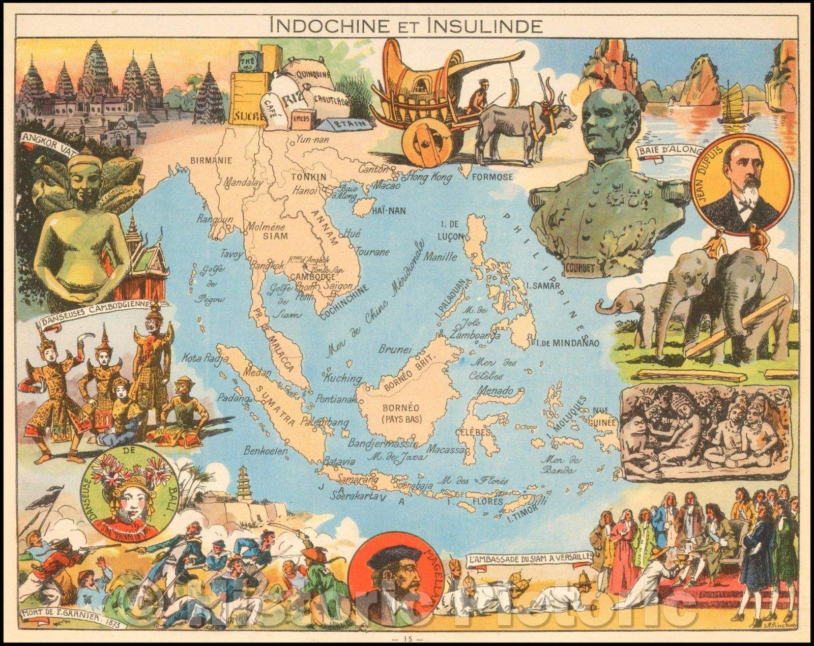 Historic Map Indochine Et Insulinde Pictorial Map Of Southeast Asia And The Philippines 1950 Joseph Porphyre Pinchon Vintage Wall Art Asia Map Pictorial Maps Southeast Asia
