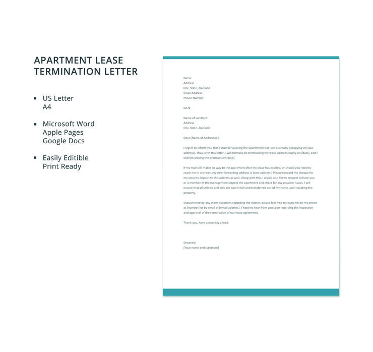 Free Apartment Lease Termination Letter Letter templates